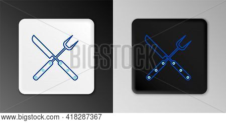 Line Crossed Fork And Knife Icon Isolated On Grey Background. Bbq Fork And Knife Sign. Barbecue And