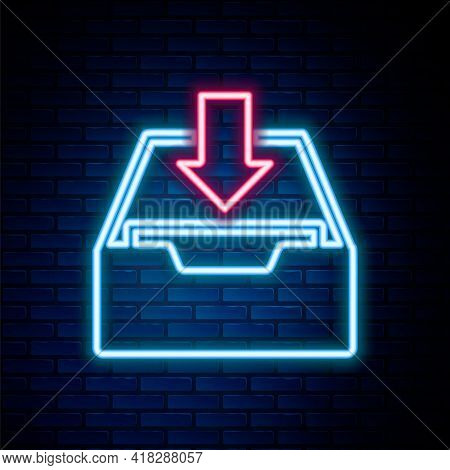Glowing Neon Line Download Inbox Icon Isolated On Brick Wall Background. Add To Archive. Colorful Ou
