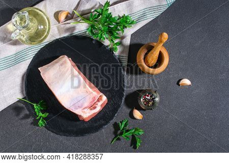 Raw Pork Loin. Pork Meat On A Gray Background. Top View.