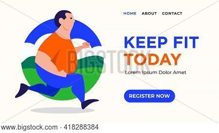 Fat Man Running Fat Design. Web Banner For Landing Page Design.