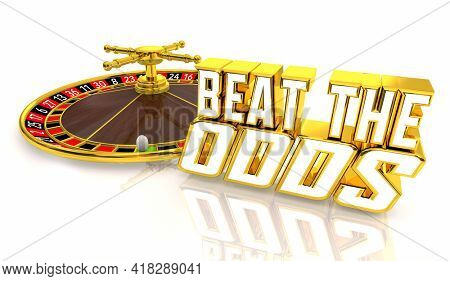 Beat the Odds Take Chance Overcome Obstacles Roulette Wheel 3d Illustration