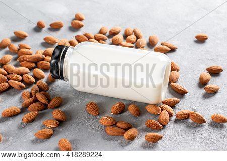 Organic Almond Milk. Alternative Vegan Milk. Vegan Food Concept. Non Dairy Milk