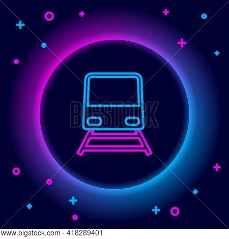 Glowing Neon Line Train Icon Isolated On Black Background. Public Transportation Symbol. Subway Trai