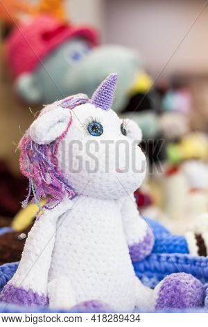 Knitted Toys. Crocheted Cute Little Animals. Handmade Toy, Plush Stuffed Toys,