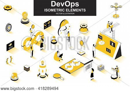 Devops Bundle Of Isometric Elements. Startup Launch, Software Development, Deployment And Testing, A