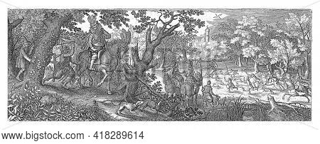 A gentleman on horseback rides with his servants and dogs on a forest path. One of the servants lashes out with a stick at a rabbit on the side of the road.