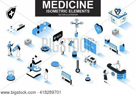 Medicine Bundle Of Isometric Elements. First Aid Kit, Medicine, Doctor, Laboratory Research, Pharmac