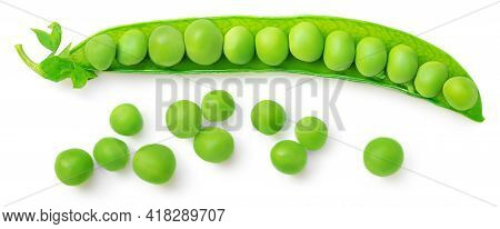 Green Beans Isolated On A White Background. Fresh Pea Pods. Top View. Flat Lay