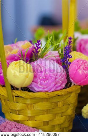 A Bouquet Of Flowers That Are Made Of Soap. Soap Bouquet, Flower Arrangement. For Interior Decoratio