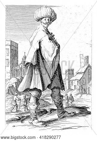On the outskirts of a town is a man in oriental clothing with a turban on his head. The print is part of a series of twelve prints with standing figures.