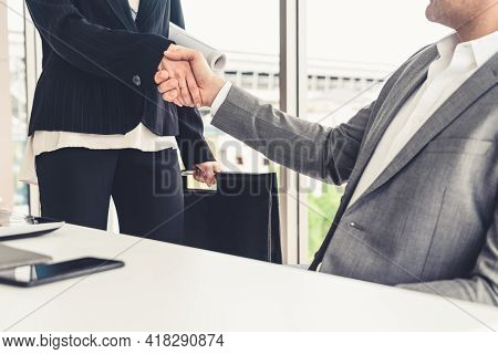 Businessman Executive Handshake With Businesswoman Worker In Modern Workplace Office. People Corpora