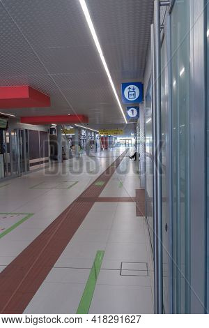 Parma, Italy - March 2021: Inside Train Station: Empty Aisle Of Parma Public Train Station, Italy.