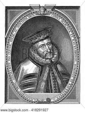 Portrait of William V, Duke of Jülich, Cleves and Berg and Count of Mark and Ravensberg, in a fur-rimmed cloak and a beret on the head.