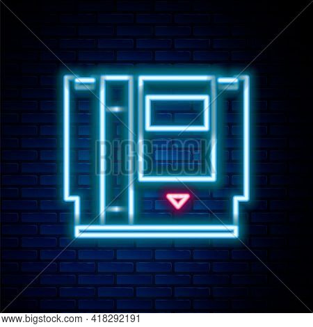 Glowing Neon Line Cartridge For Retro Game Console Icon Isolated On Brick Wall Background. Tv Game C
