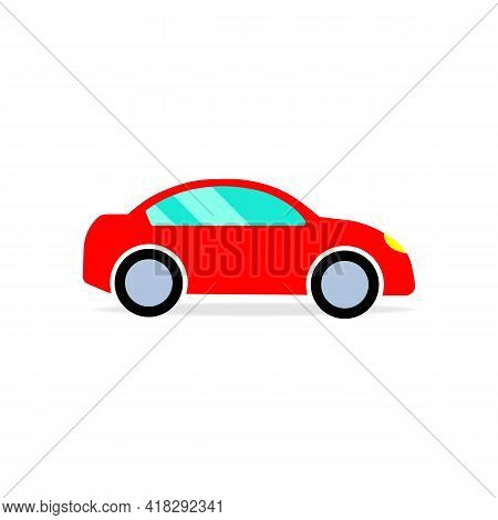 Red Car Or Automobile Color Icon. Graphic Design Element. Trendy Flat Isolated Symbol, Sign Can Be U
