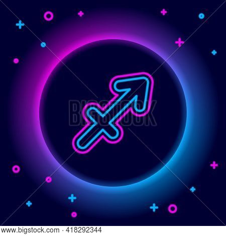 Glowing Neon Line Sagittarius Zodiac Sign Icon Isolated On Black Background. Astrological Horoscope