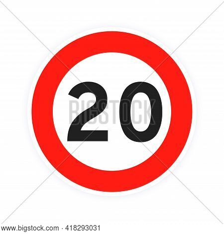 Speed Limit 20 Round Road Traffic Icon Sign Flat Style Design Vector Illustration Isolated On White