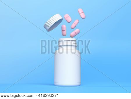Pink Pills Spilling From A White Pharmacy Bottle On A Blue Background, Medical Treatment, Pharmaceut