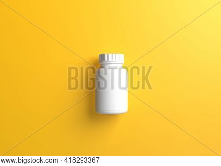 White Bottle For Pills On A Yellow Background. 3d Rendering Illustration