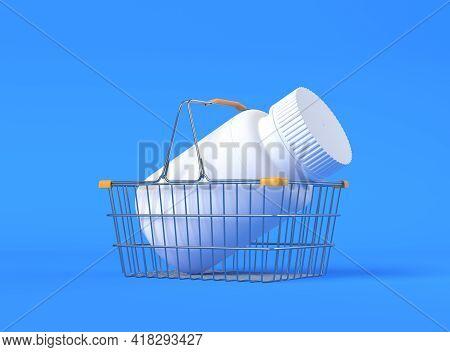 Pharmacy Bottle In Shopping Basket On Blue Background. Pharmacy Medicine Concept. 3d Render Illustra