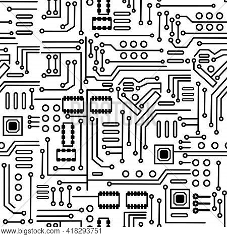 Vector Illustration Of Seamless Electronic Circuit Board Chip-set Background.