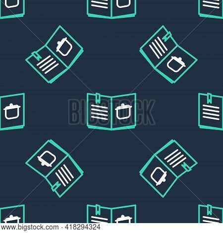 Line Cookbook Icon Isolated Seamless Pattern On Black Background. Cooking Book Icon. Recipe Book. Fo