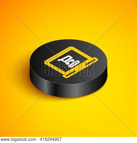 Isometric Line Shopping Cart On Screen Laptop Icon Isolated On Yellow Background. Concept E-commerce