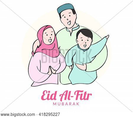 Flat Illustration Of Muslim Family Embrace Each Other Celebrates Eid Mubarak. Happy Eid Al Fitr Gree