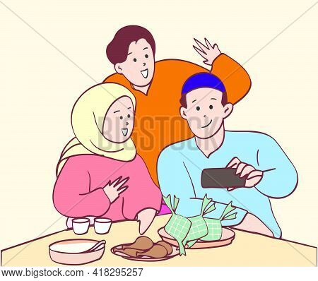 Happy Muslim Family Enjoy Their Iftar Meal Together And Taking Self Picture. Hand Drawn Style Illust