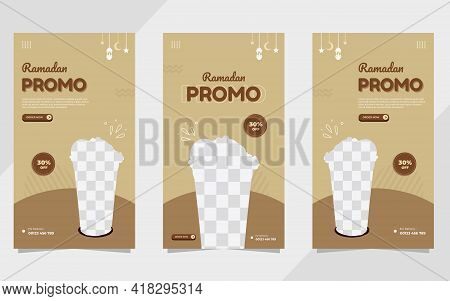 Set Of Ramadan Social Media Stories Templates For Food And Drink Menu In Brown Color Background