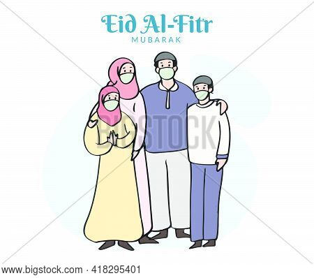 Flat Illustration Of Muslim Family Wearing A Face Mask Celebrates Eid Al Fitr During Pandemic. Happy