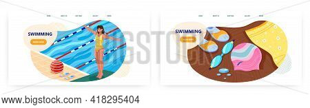 Swimming Landing Page Design, Website Banner Vector Template Set. Swimming Pool Water Sport, High Di