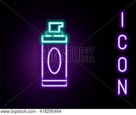 Glowing Neon Line Shaving Gel Foam Icon Isolated On Black Background. Shaving Cream. Colorful Outlin