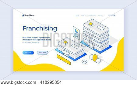 Isometric Vector Illustration Of Buildings Of Company Branch Offices Representing Franchising Busine