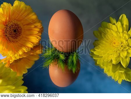 Image Of A Brown Free Range Egg On A Bed Of Green Spiky Leaves On A Reflective Surface In Warm Light