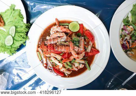 Spicy Salad Or Spicy Shrimp Salad , Thai Food