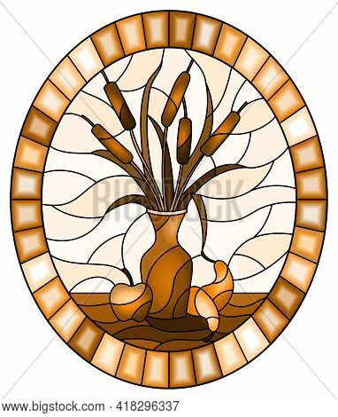 Illustration In Stained Glass Style With Bouquets Of Bulrush  In A Vase , Pears And Apples On Table