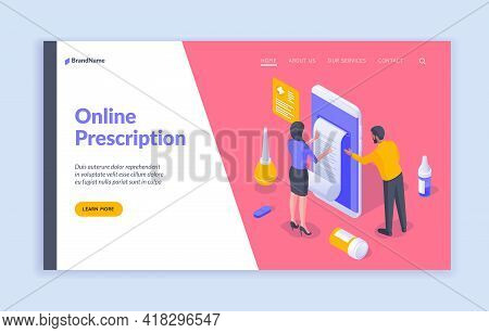 Online Prescription. Isometric Vector Illustration Offering Information About Contemporary Medical S