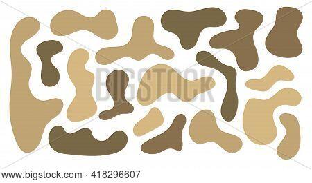 Irregular Blob, Set Of Abstract Organic Shapes. Brown Ground Irregular Random Blobs. Simple Liquid A