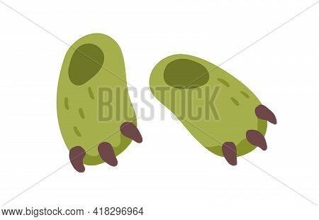 Pair Of Closed Cute Winter Slippers With Claws Isolated On White Background. Cozy Fluffy Home Shoes.