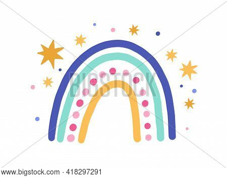 Cute Funny Magic Rainbow With Stars Isolated On White Background. Sweet Childish Drawing Of Abstract