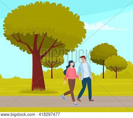 Couple Walking In Park. Young Guy And Girl Holding Hands Walking In Summer Garden, Romantic Walk. Lo