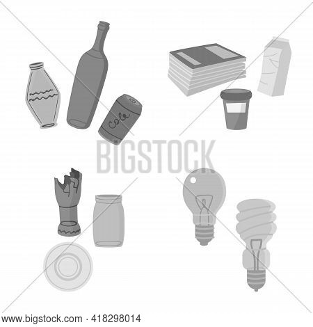 Isolated Object Of Waste And Garbage Sign. Set Of Waste And Separation Stock Symbol For Web.