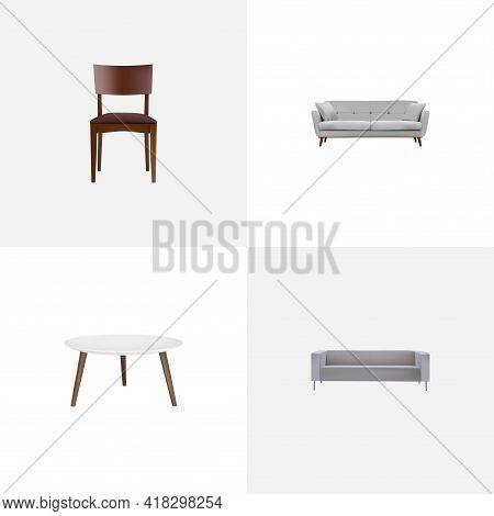 Set Of Furniture Realistic Symbols With Divan, Stool, Sofa And Other Icons For Your Web Mobile App L