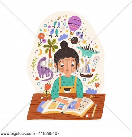 Sweet Girl Sitting At Desk With Scrapbook Or Reading Fairy Tale Book. Kid With Creative Imagination.