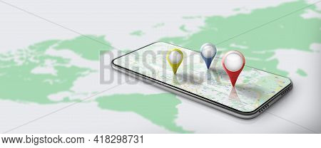 Application Of Gps Navigation Map On Smartphone With Red, Blue, And Yellow Pinpoint. Route Map With