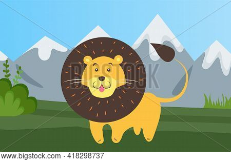 Lion Is Resting In Clearing. Wild Animal In Nature. Mixed Forest Landscape With Mountains And Greene