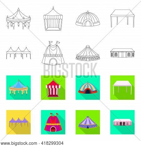 Vector Illustration Of Roof And Folding Logo. Set Of Roof And Architecture Stock Symbol For Web.