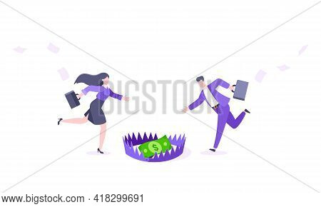 Money Trap Business Concept. Young Adult People Running To Catch The Coin Money In The Steel Bear Tr