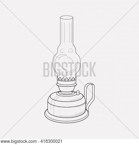 Kerosene Lamp Icon Line Element. Vector Illustration Of Kerosene Lamp Icon Line Isolated On Clean Ba
